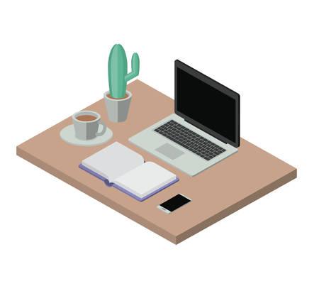 workplace elements isometrics icons vector illustration design
