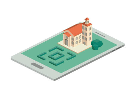 building and trees isometric scene on smartphone. Vector illustration