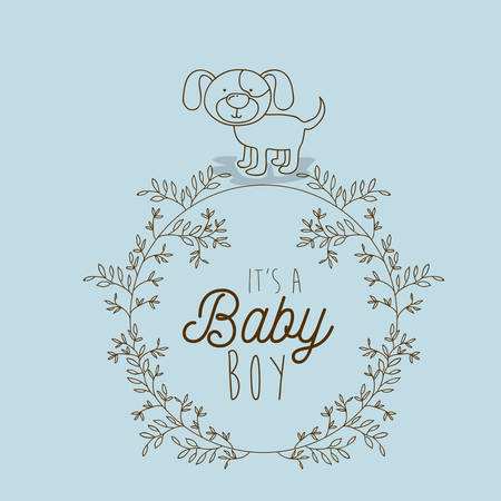 its a boy hand draw invitation card vector illustration design