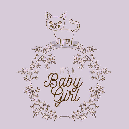 its a girl hand draw invitation card vector illustration design