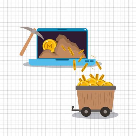 monero mining set icons vector illustration design