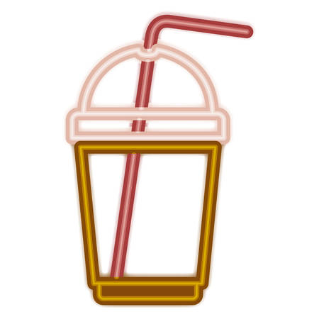beverage in plastic container and straw vector illustration design
