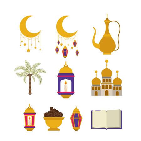 eid mubarak card with set icons vector illustration design