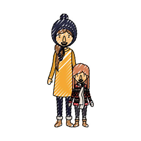 mother and daughter with winter clothes vector illustration design