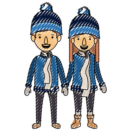 couple with winter clothes characters vector illustration design