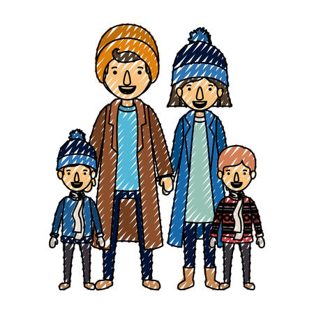 family parents and childrens with winter clothes vector illustration design Vectores