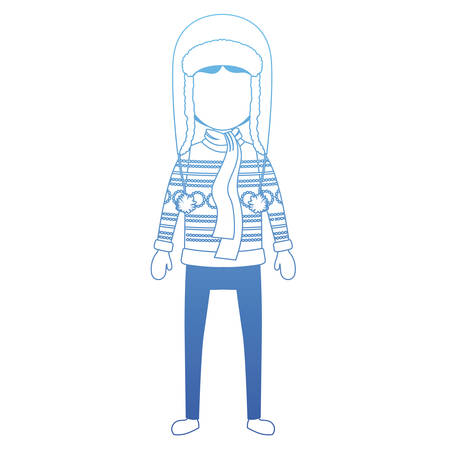 young man with winter clothes and hat vector illustration design