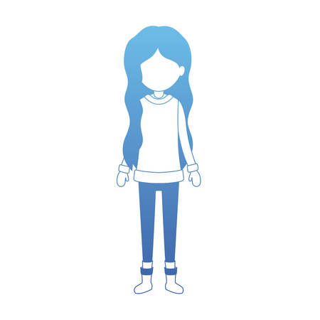 young woman with winter clothes vector illustration design
