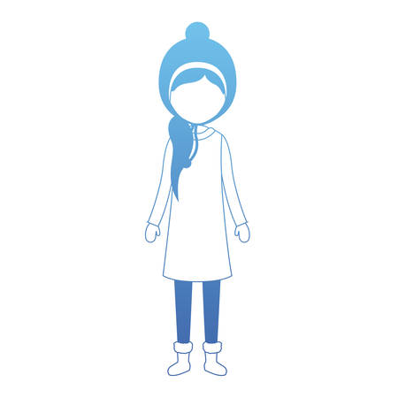 young woman with winter clothes and hat vector illustration design