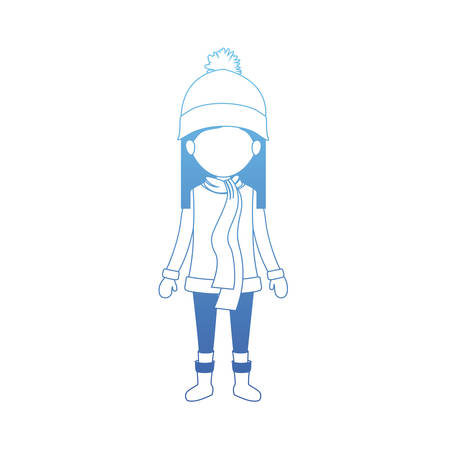 little girl with winter clothes hat and scarf vector illustration design