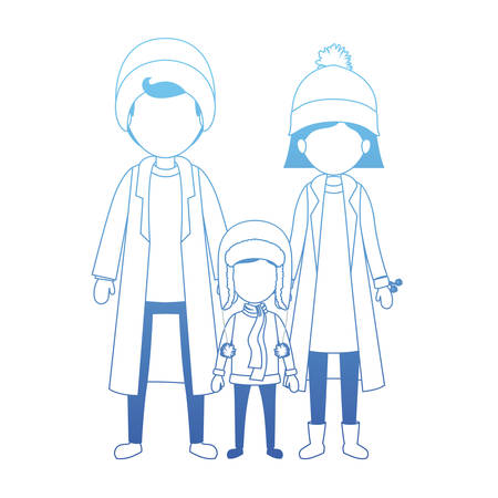 parents and son with winter clothes vector illustration design Standard-Bild - 112163009