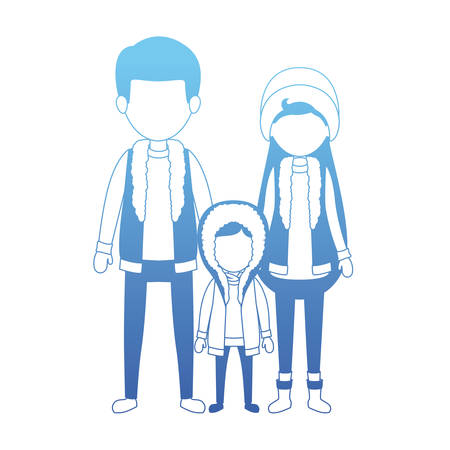 parents and son with winter clothes vector illustration design Illustration
