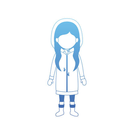 little girl with winter clothes vector illustration design
