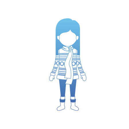 little girl with winter clothes and scarf vector illustration design