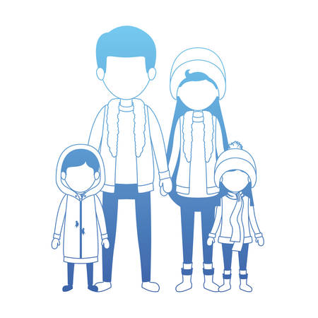 family parents and childrens with winter clothes vector illustration design Standard-Bild - 112163052