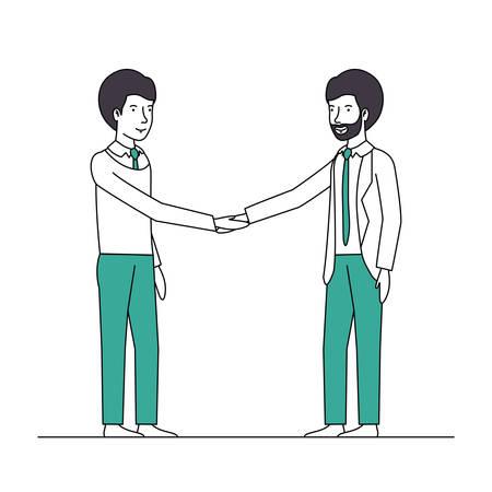 businessmen shaking hands characters vector illustration design Illustration