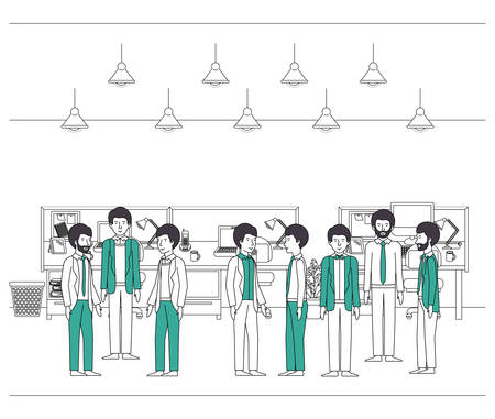group of businessmen with green clothes in the office vector illustration design