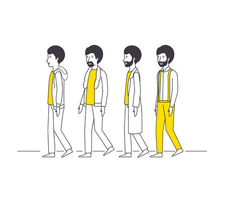 group of men with yellow clothes vector illustration design