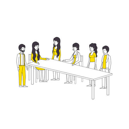 group of people with yellow clothes in the table vector illustration design