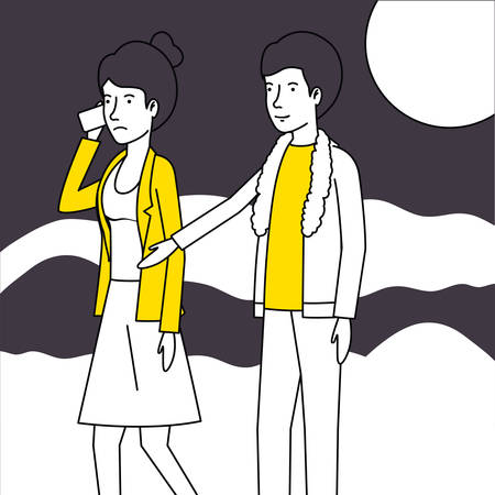 couple lovers with yellow clothes walking and calling