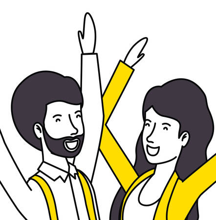 couple lovers with yellow clothes celebrating vector illustration design 일러스트