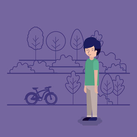 man in the park scene with bicycle vector illustration design