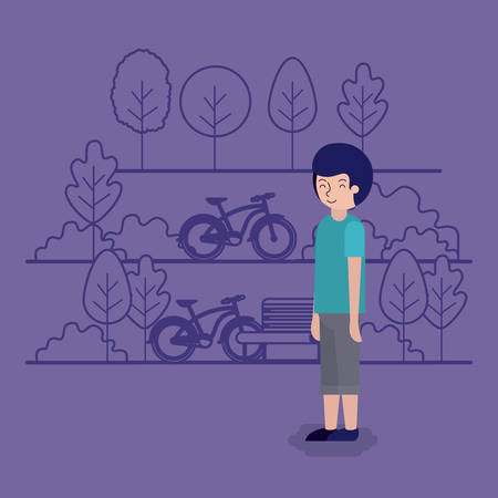 man in the park scene with chair and bicycle vector illustration design