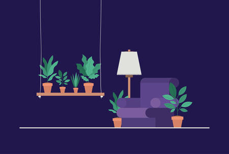 living room with houseplants and lamp vector illustration design