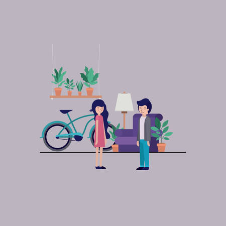 couple in the living room with houseplants and bicycle vector illustration