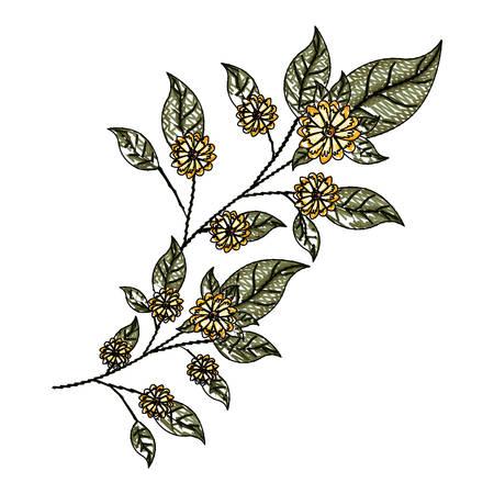 beautiful flower and leafs garden vector illustration design