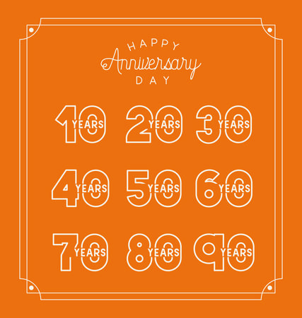 happy Anniversary card with decades vector illustration design