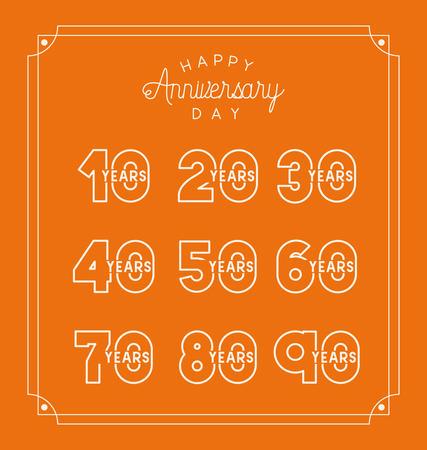 happy Anniversary card with decades vector illustration design