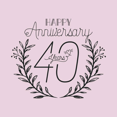happy anniversary number forty with wreath crown vector illustration design