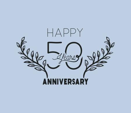Joyeux anniversaire numéro cinquante avec conception d'illustration vectorielle couronne couronne Vecteurs