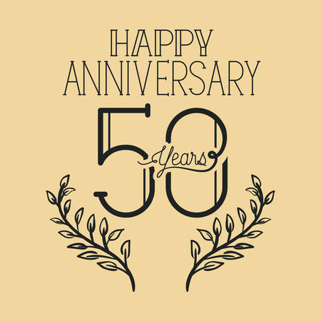 happy anniversary number fifty with wreath crown vector illustration design