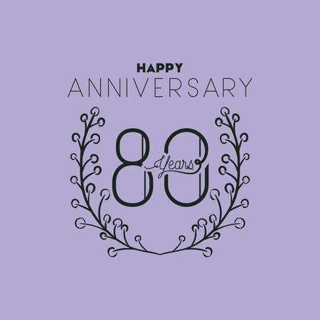happy anniversary number eighty with wreath crown vector illustration Illustration
