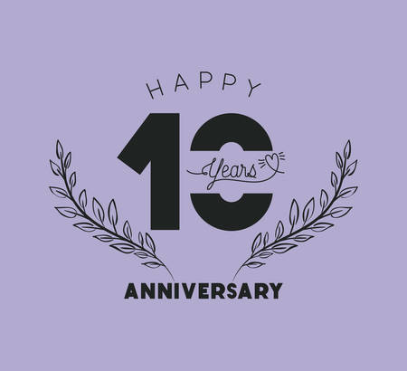 happy anniversary number 10 with wreath crown vector illustration design