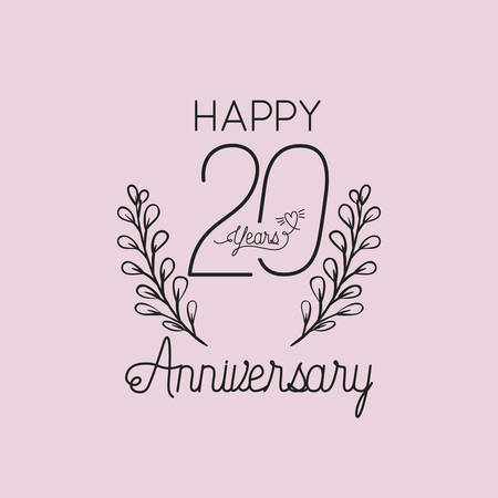 happy anniversary number twenty with wreath crown vector illustration