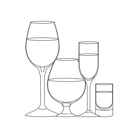 cups and glasses set icons vector illustration design