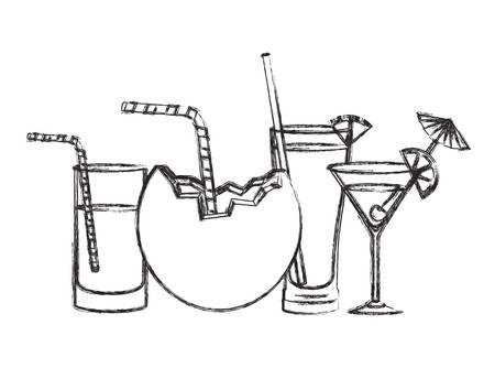 set cups cocktails icons vector illustration design