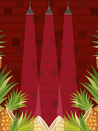 concrete wall with lights and pineapples vector illustration design