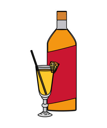 cup cocktail drink with bottle vector illustration design Ilustração