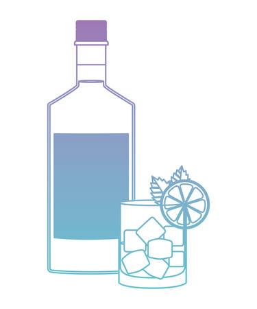glass cocktail with fruit and bottle vector illustration design