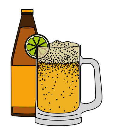 jar beer with bottle drink icon vector illustration design 向量圖像