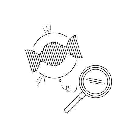 dna chain with magnifying glass vector illustration design Vettoriali