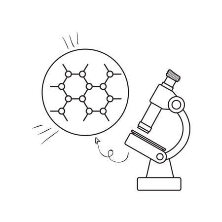 Estructura molecular con microscopio, diseño de ilustraciones vectoriales