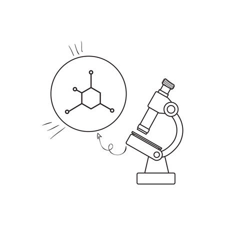 structure molecular with microscope vector illustration design 向量圖像
