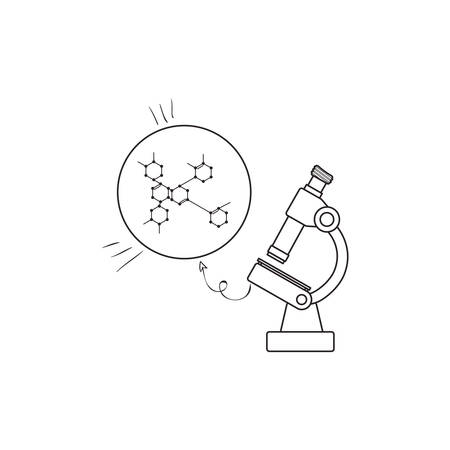 structure molecular with microscope vector illustration design Illustration