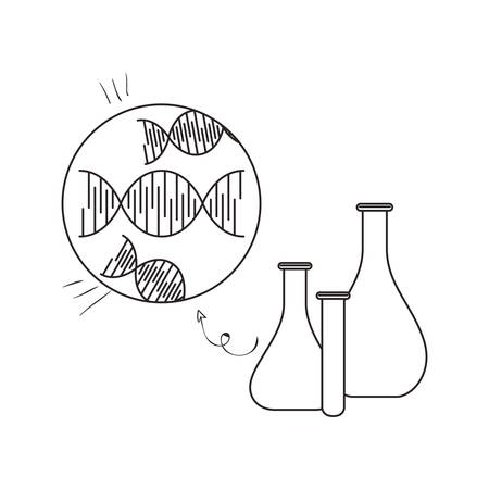 dna chain science with tube test vector illustration design  イラスト・ベクター素材