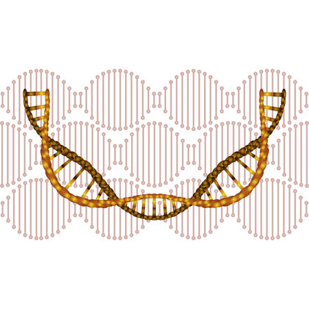 dna chain with curve science icon vector illustration design